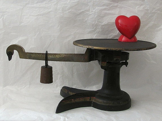 HOLD FOR OkieGrilStuff -  Antique Vintage Counter Balance Scale - Cast Iron - Art Deco Style