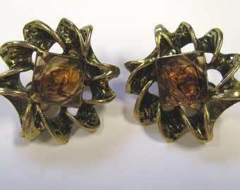 Vintage Amber Acrylic Rhinestone Antique Gold tone Gold tone Clip on Earrings, Autumn Golds