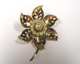 Vintage Faux Pearl Crystal Rhinestone Flower Signed Coro Gold Tone Brooch, Pierced Metal Brooch, Gold Flower Brooch Pin