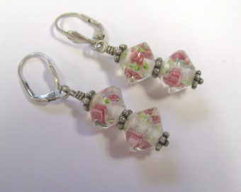 Vintage Romantic Cottage Chic Pink Rose Sterling Silver Pierced Dangle Earrings