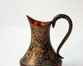 Turkish pitcher, ornate hand engraved copper ewer with handle