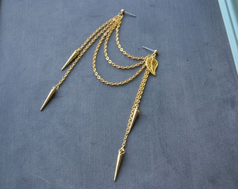 Gold Leaves and Spikes Double Pierce Cartilage Earring (Single-Side)