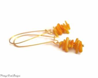 mustard  yellow coral & gold dangle earrings, long gold earrings,mustard  earrings, woodland colors, fall  fashion, wedding