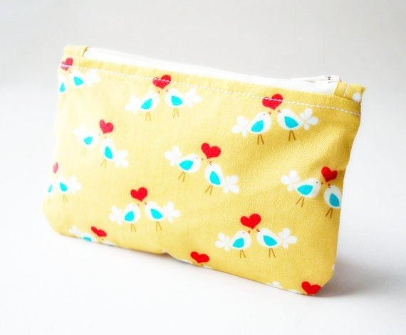 Coin purse wallet: Michael Miller lovebirds in mustard,red and blue with hearts.