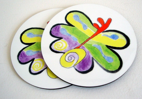 Set of 2 Original Handmade Art Butterfly Coasters - Whimsical - for Home Decor - Freedom - Spring