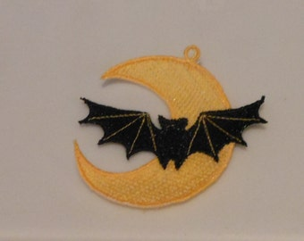 Halloween Lace Applique for Crafts, Ornament or Crazy Quilt - Bat and Moon