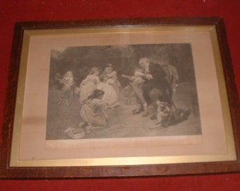 antique oak frame and print of sunshine of his heart by F Morgan