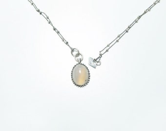 Silver Retro White Agate  Necklace