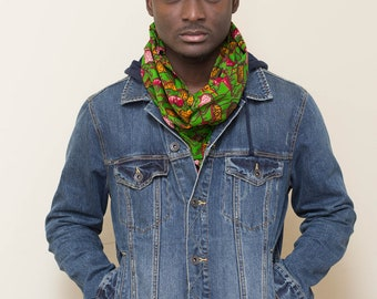 Scarf: Ankara African wax print  mens scarf, womens scarf,orange, red, green scarf, Fall scarf,Winter Scarf