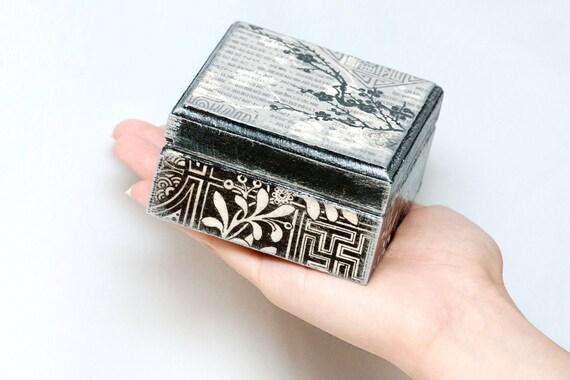 Japanese Jewelry Box, Wedding box, Ring bearer, Japan Sakura Cherry Tree, Asian Style wood box, Black Grey ohtteam