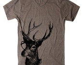 Mens Buck Deer Genius Woodland T Shirt tee - American Apparel Tshirt - XS S M L XL and XXL (28 Color Options) - lastearth