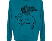Flying wide neck Pig Women's Sweater Tri-Blend Raglan Pullover - American Apparel - S M and L (8 Color Options)