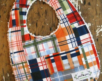 Boy Baby Bib - Chenille - Navy Blue Plaid Patchwork - Going Coastal by Michael Miller