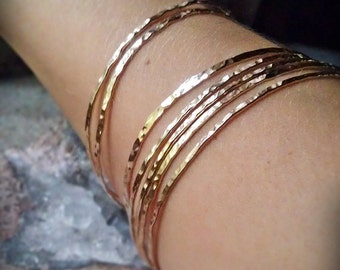 Hammered Gold Bangles 14k Gold Filled stack of 7