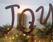 "JOY, Metal Word Art, Christmas decoration, metal joy, Holiday decor, 8"" metal letter, metal letters"