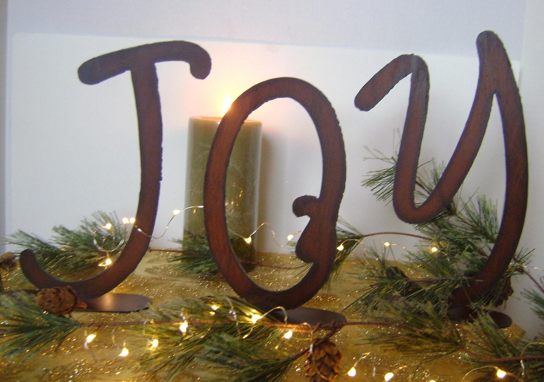 Joy Metal Wall Decor : Joy metal word art christmas decoration holiday