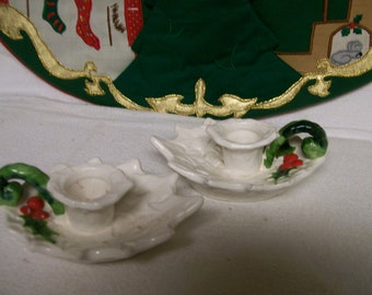 Vintage LEFTON Candleholders WHITE HOLLY Christmas Candle Holders