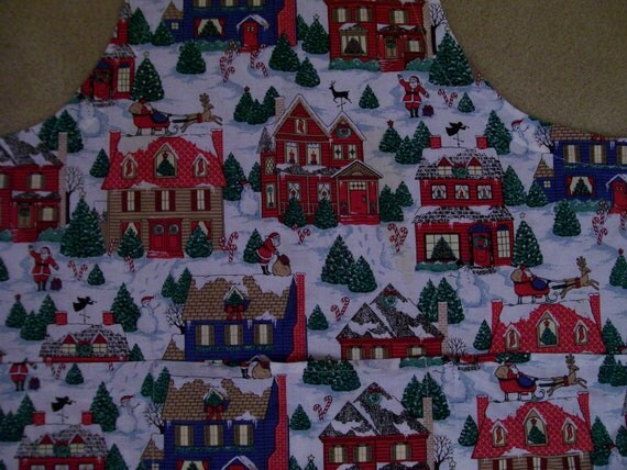 Vintage Christmas Apron Fun Scene FULL Size with Pockets Festive Winter themed