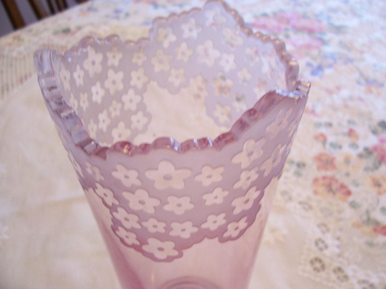 Vintage Pink Vase Galway Irish Crystal Pink Vase