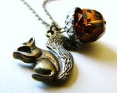 Holiday SALE : 30% Off Sweet Squirrel and Acorn Necklace by Lillyandlulu, woodland, forest, animal, autumn,