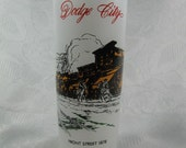 Vintage 1950s Dodge City Kansas Tall Frosted Glass Mid Century Souvenir 1878 Western Town