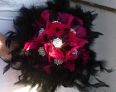 Pink and Black Feather Bouquet, Bridal Bouquet, Wedding Bouquet, Bridesmaid Bouquet, Custom Bouquet
