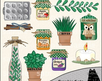 Country Kitchen Clipart and Graphic Set, Cooking Clipart, Baking Clipart, Kitchen Clipart - Digital Scrapbooking Kit
