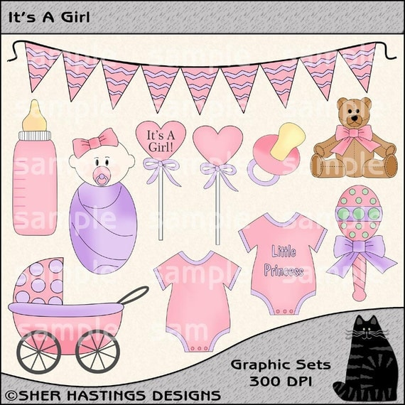 It's A Girl Clipart and Graphic Set, Baby Clipart, Baby Girl Clipart, Baby Shower Clipart - Digital Scrapbooking Kit