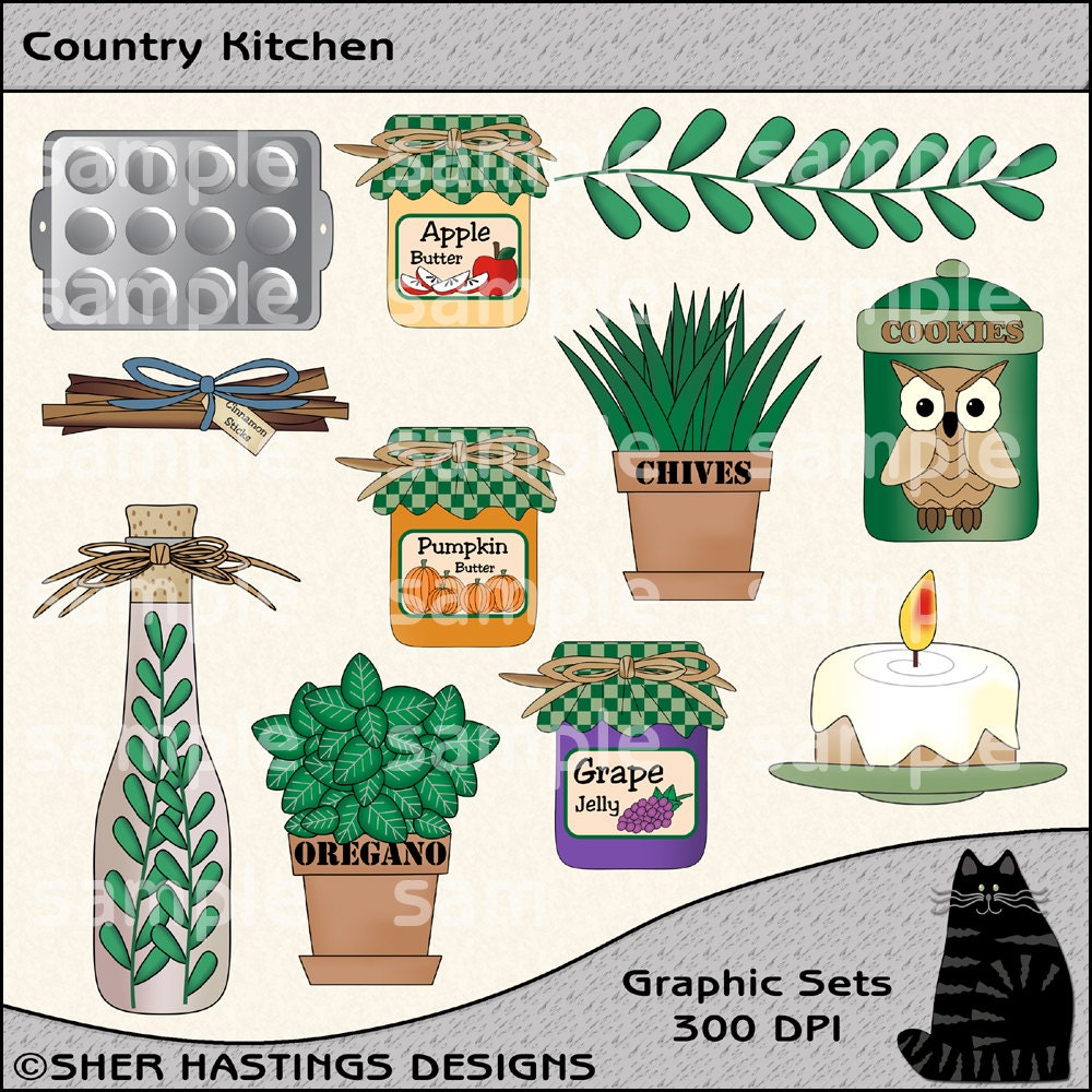 Kitchen Art Printables Collection Sale Instant Download: Country Kitchen Clipart And Graphic Set Cooking Clipart