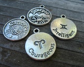 12 Silver Zodiac Charms 18mm 1 Full Set Of Assorted Astrological Signs