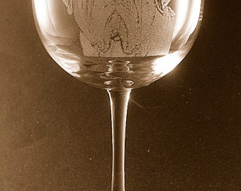 Etched Neapolitan Mastiff on Large Elegant Wine Glass (set of 2)