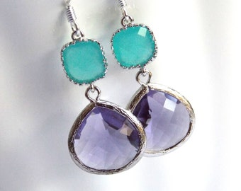 Glass Earrings, Purple Earrings, Silver Earrings, Mint, Turquoise, Blue, Aqua, Bridesmaid Earrings, Bridal Earrings, Bridesmaid Gifts