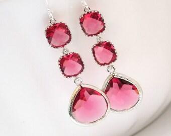 Glass Earrings, Fuschia Earrings, Fuchsia Earrings, Silver Earrings, Hot Pink, Bridesmaid Jewelry, Bridesmaid Earrings, Bridesmaid Gifts