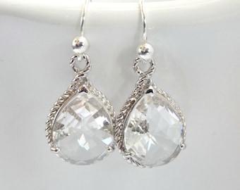 Clear Earrings, Crystal Earrings, Glass, Silver, Wedding Jewelry, Bride Earrings, Bridesmaid Earrings, Bridal Earrings, Bridesmaid Gifts