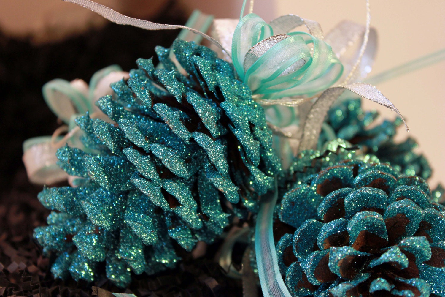 Christmas Ornaments Frosted Pinecones In Turquoise 2 Count