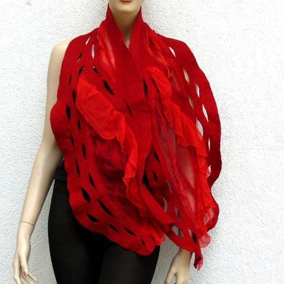 Nuno felted scarf Shawl silk and wool Handmade - red ruffle