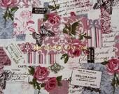 """L363  - Cotton Linen Fabric - Rose / Butterfly / Postmark - 27"""" x 19""""(70 x 50cm)"""