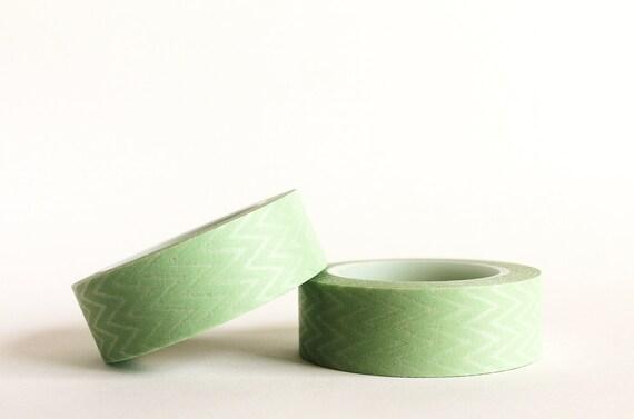 Pastel Green Horizontal Chevron Washi Tape
