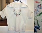 Vtg 70s boho Ethnic embroidered flowers white breezy sheer Shirt Blouse Top M L