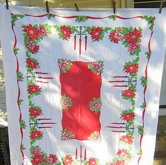 Vintage Christmas Tablecloth Holiday Border Print Candles Poinsettia