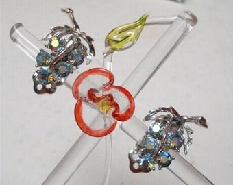"1"" Grape Light Blue AB Rhinestone Clip Earrings"