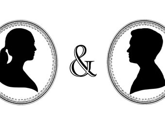 Two Custom Digital Silhouette Portraits- perfect for couples