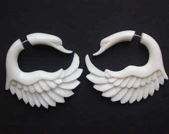 JAYA Swan Earrings - Natural White Bone - Organic Fake Gauges