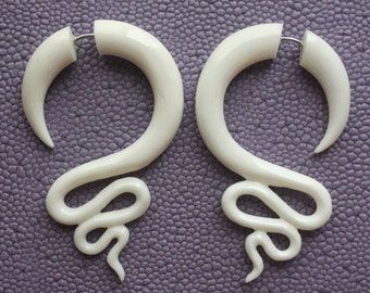 White Fake Gauge Earrings - JAZZ - Hand Carved Natural White Bone - Spiral Tribal Earrings