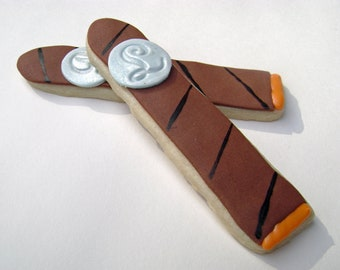Cigar Cookie Favors - New Baby - Monogram - 12 Cookies