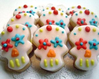 Mini Sugar Skull Sugar Cookies - Day of the Dead