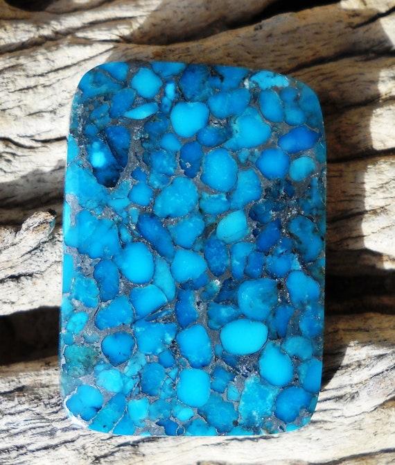 Free Form Kingman Arizona USA Turquoise Cabochon in a Zinc Matrix.   Brilliant Shine.