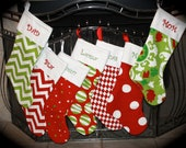 SALE   One Personalized Christmas Stocking- Monogrammed FREE