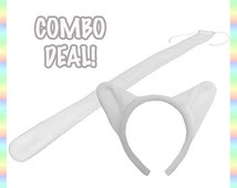 Ghost White Cat Ears and Tail COMBO - Antipill Fleece, Cute Kitty Anime Animal Cosplay Costume