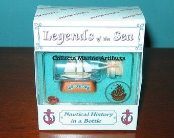 Mini Ship in a Bottle Historic MYSTIC SEAPORT'S Schooner Brilliant New OLD Stock from Art Store 90s